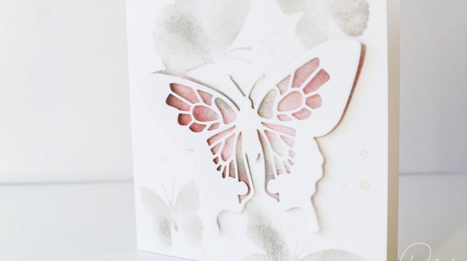 Kleiner Gruß gestaltet mit dem Stampin' Up! Set Schöne Schmetterlinge und Masking Technik, Front, Caros Bastelbude