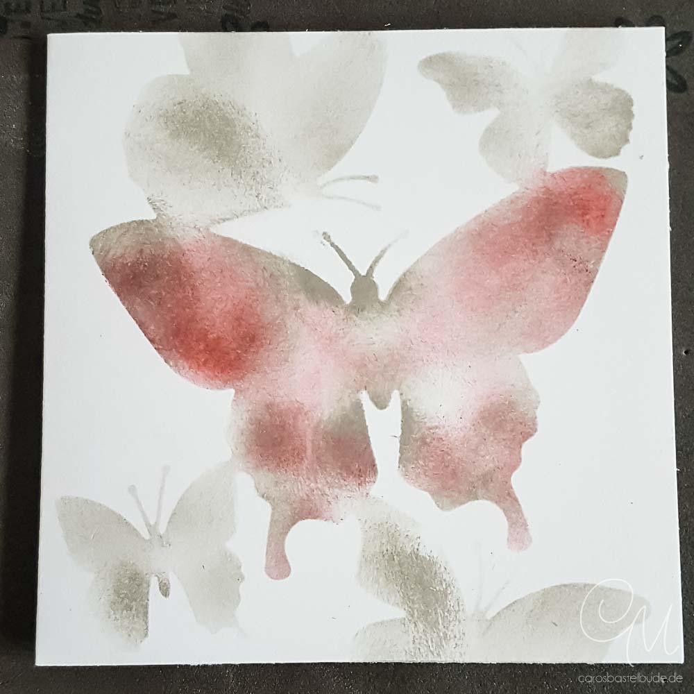 Kleiner Gruß gestaltet mit dem Stampin' Up! Set Schöne Schmetterlinge und Masking Technik, Masking, Caros Bastelbude