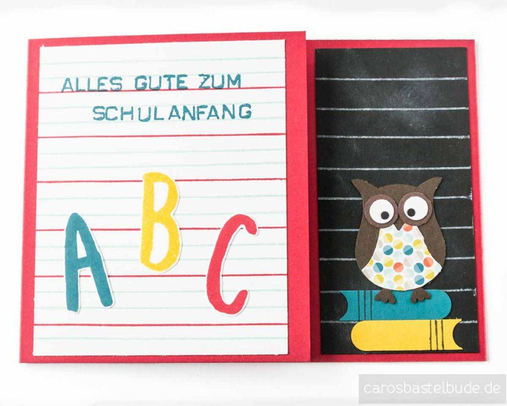 Glückwunschkarte zur Einschulung mit ABC und Eule als Glücksbringer, Schulanfangskarte
