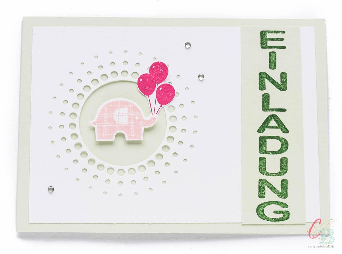Einladungskarte zum 1. Geburtstag, Fokuselement ist ein kleiner Elefant aus dem Stampin' Up! Stempelset Elefantastisch
