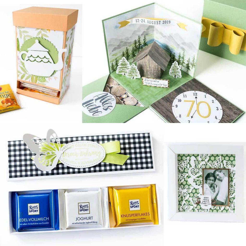 verschiedenen handgemachte Geschenkideen zum Geburtstag, zur Geburt und mehr
