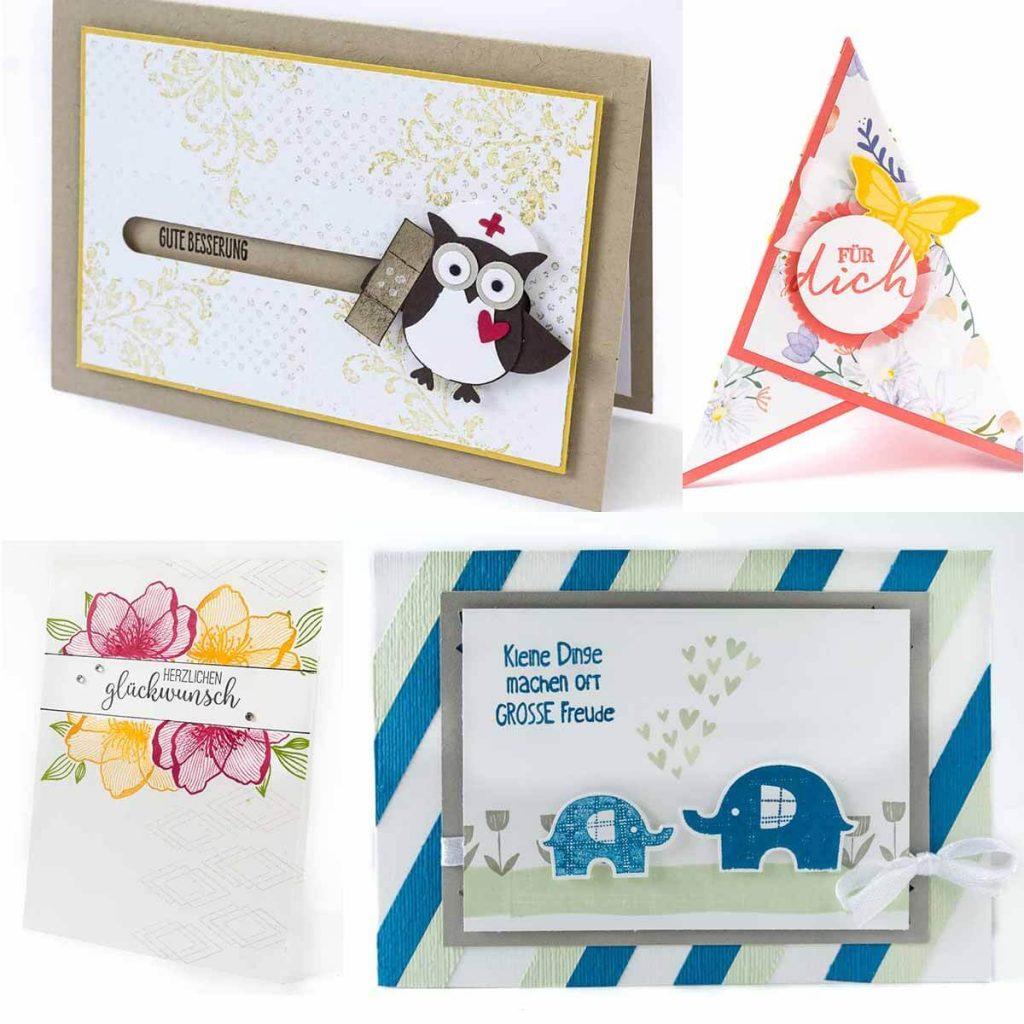 Grußkarten zu verschiedenen Anlässen, wie Geburtstag, Geburt und Genesung