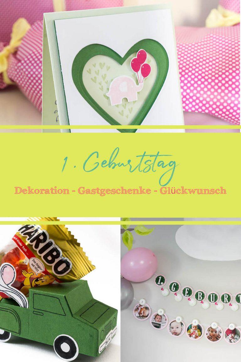 Papeterie zum 1. Geburtstag, Gastgeschenke, Girlanden, Grußkarte