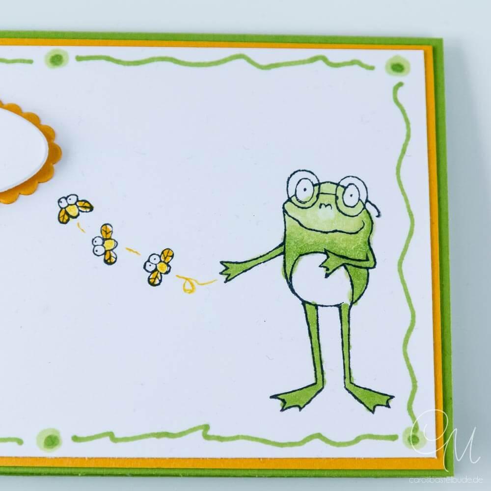 Geldgeschenk, Geschenkverpackung für Geld oder Gutscheine gestaltet mit dem Stempelset Froschkönig von Stampin' Up!, Nahaufnahme Frosch 2