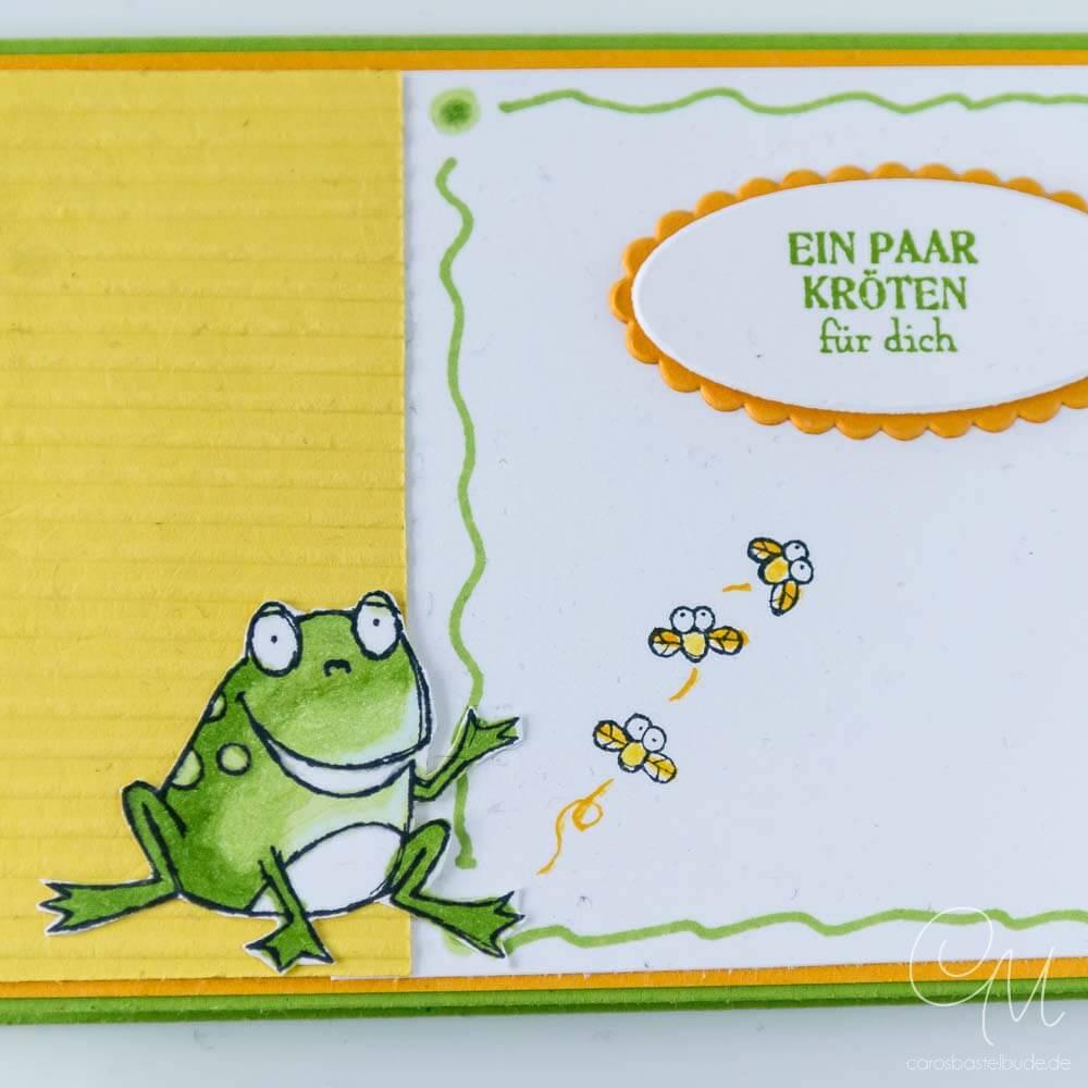 Geldgeschenk, Geschenkverpackung für Geld oder Gutscheine gestaltet mit dem Stempelset Froschkönig von Stampin' Up!, Nahaufnahme Frosch 1