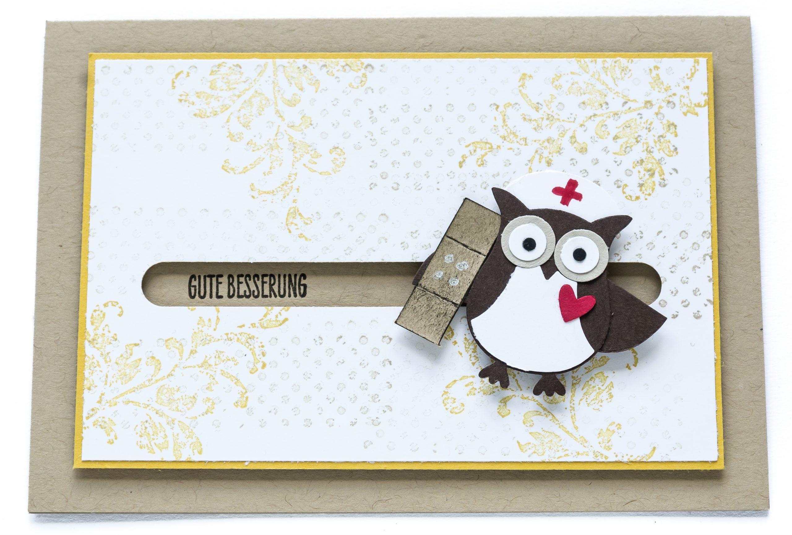 Grußkarte Gute Besserung Krankenschwester-Front liegend