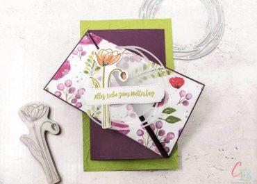 Diagonal gefaltete Karte zum Muttertag