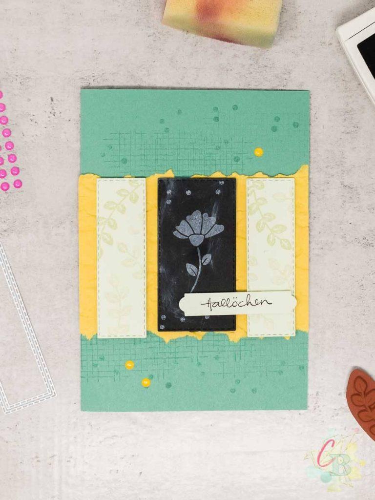 Grußkarte gestaltet mit der Chalkboard Technik und den Stampin' Up! Stempelsets Zauberhafte Grüße und Trost & Kraft