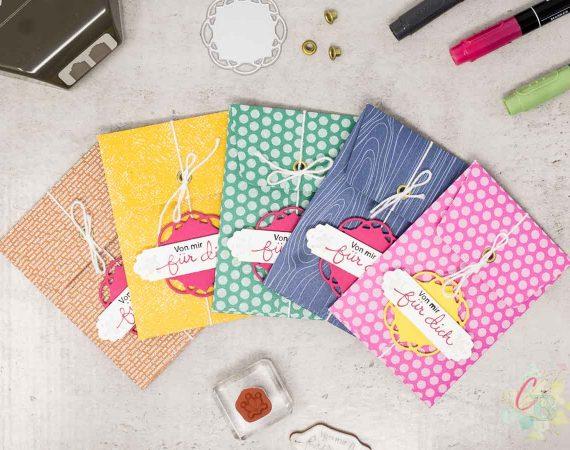 Umschläge für ein Geldgeschenk oder eine Geschenkkarte gestaltet mit dem 6 x 6 Inch Designerpapier in den In Color 2020-22 von Stampin' Up!