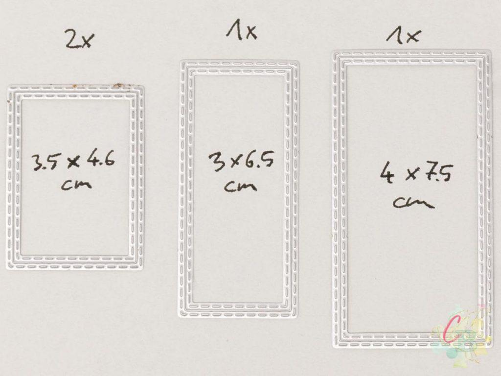 Maße der verwendeten Stanzformen aus dem Stanzformenset Bestickte Rechtecke von Stampin' Up!