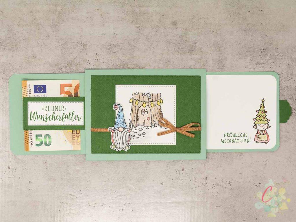 Slider Karte als Geldgeschenk oder Verpackung für eine Geschenkkarte mit ausgezogenen Laschen