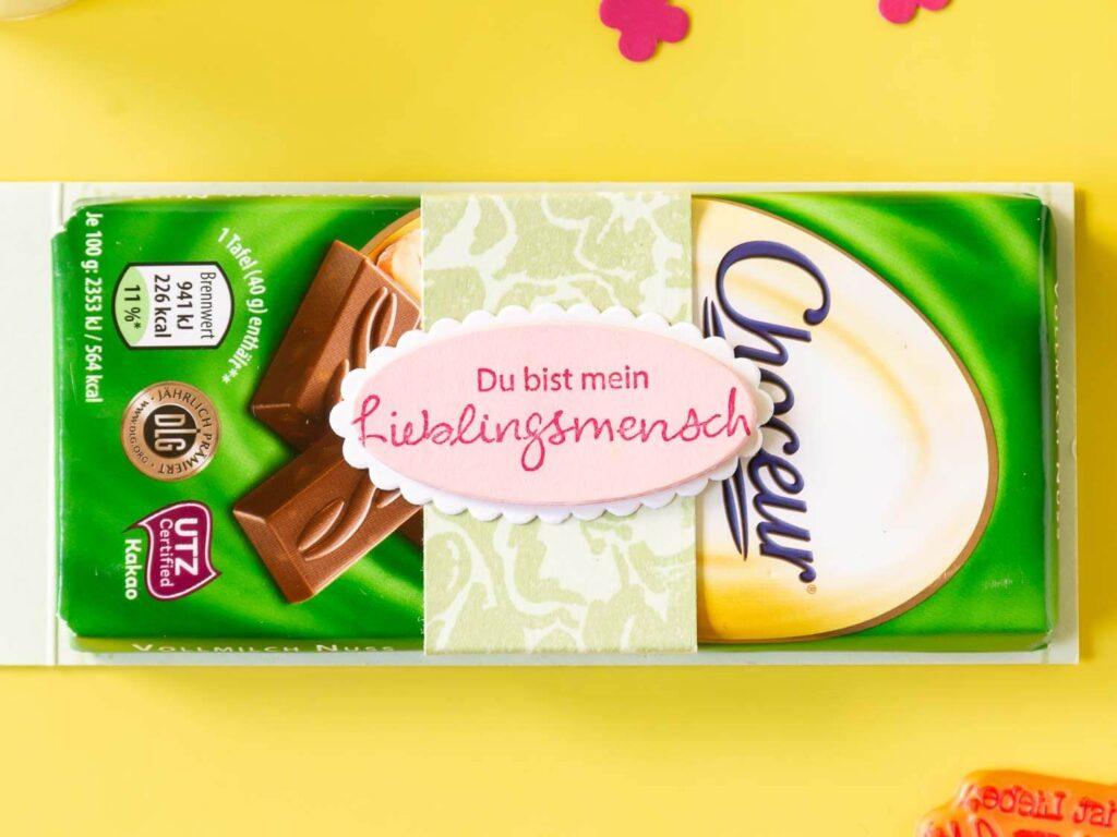 Geschenkverpackung basteln für Schokolade